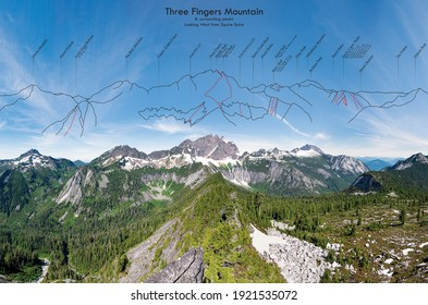 A Labeled Panorama of Three Fingers Mountain and the Surrounding Peaks. 				Squire Creek, Darrington, North Cascades, Washington.