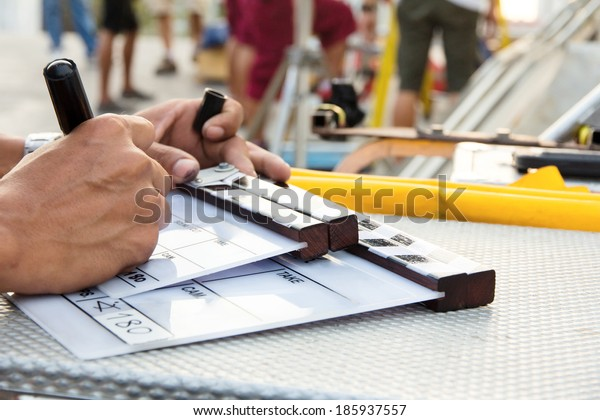Labeling the Slate on set