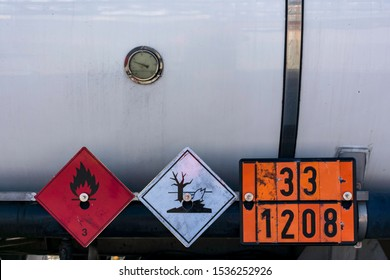 Labels and plates with danger number in a tank truck,mandatory in the transport of dangerous goods.