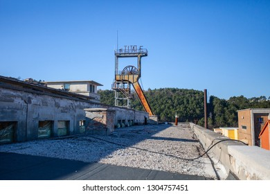 LABIN / CROATIA - MARCH 01, 2012: View of mining tower shaft called TITO in old abandoned coal mine