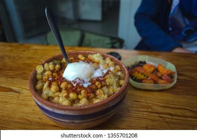 Lablabi or Lablebi a traditional Tunisian dish based on chick peas. Typical arabic street food in Tunisia