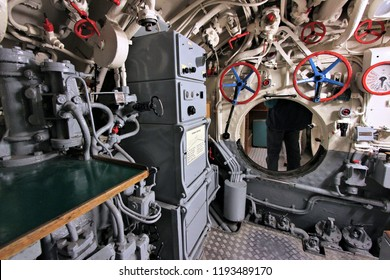 LABOE, GERMANY - AUGUST 30, 2014: Interior of German submarine U-995 (museum ship) in Laboe. It is the only surviving Type VII submarine in the world. It was launched in 1943.