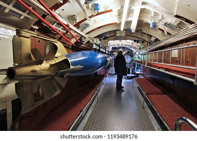 LABOE, GERMANY - AUGUST 30, 2014: People visit a historic German submarine U-995 (museum ship) in Laboe. It is the only surviving Type VII submarine in the world. It was launched in 1943.