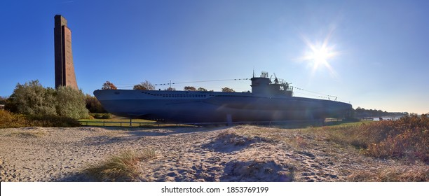 LABOE, GERMANY - Nov 08, 2020: Nice view at the submarine u-995 at the beach of Laboe in Germany on a sunny day
