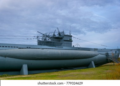 LABOE, SCHLESWIG-HOLSTEIN / GERMANY - November 20 2017: The submarine U995 in Laboe at the Baltic Sea, Museums ship, U-995 submarine at a beach near Kiel in Baltic Sea seaside resort town of Laboe