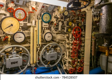 LABOE, SCHLESWIG-HOLSTEIN / GERMANY - November 20 2017: The submarine U995 in Laboe at the Baltic Sea, Museums ship,  inside the U-995 submarine at a beach in Baltic Sea seaside resort town of Laboe