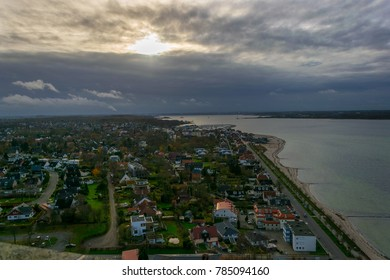 LABOE, SCHLESWIG-HOLSTEIN / GERMANY - November 20 2017: Panoramic view across Laboe Fjord,  state capital of Kiel at back, Schleswig-Holstein, Germany, Europe