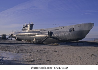 LABOE,GERMANY -JUNE 19, 2017:Museums ship, U-995 submarine at a beach near Kiel in Baltic Sea seaside resort town of Laboe, Schleswig-Holstein, Germany, Europe