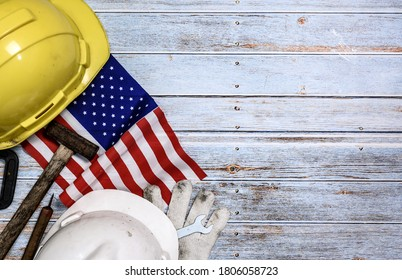 Labor day background and federal holiday. Independence and memorial day in America and USA. Engineer and worker tools with copy space for text.