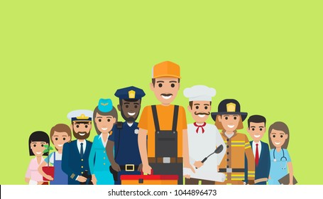 Labor Day bright promotion poster with representatives of all common professions in work uniforms on green background  illustration.