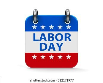 Labor day calendar icon as american flag, three-dimensional rendering