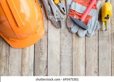 Labor Day is a federal holiday of United States America. Repair equipment and many handy tools. Top view with copy space for use and design. Business and industry concept.