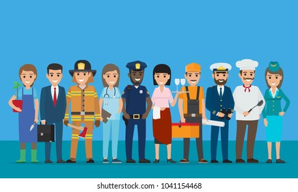 Labor day  poster of policeman and lifesaver, sailor and cook, stewardess and doctor, manager with briefcase,, grower with plant near waiter