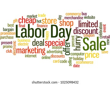 Labor day sale word cloud concept on white background.