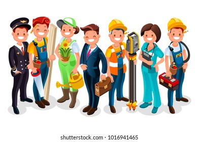 Labor Day. Vector worker group each person wearing job uniform of a specific profession or occupation. Different workmen and professional employers cartoon characters. people flat illustration.