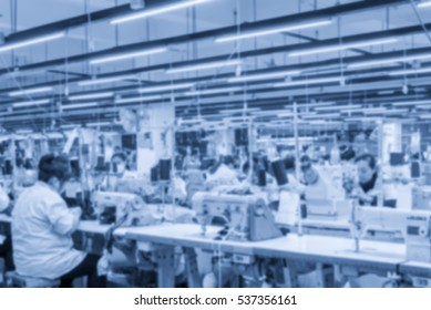 Labor force work in the garment factory,Background blur