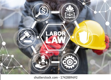 Labor Law Industrial Concept. Industry Worker Rights Protection.