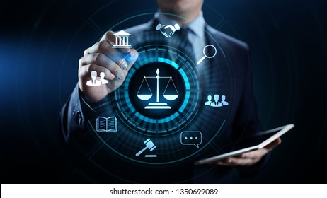 Labor law, Lawyer, Attorney at law, Legal advice business concept on screen.
