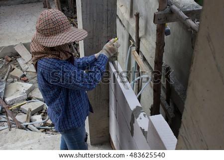 Labor Man Using Plumbline Window Installing Stock Photo Edit Now