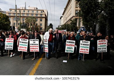 Labor unions demonstrate during a 24 hour general strike against the government's austerity politics in Athens, Greece, 4 February 2016.