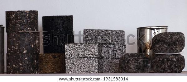 Laboratory asphalt samples on the shelf