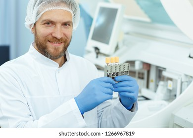 Laboratory Assistant In Lab Coat And Blue Gloves Working Private Clinic Crop Of Doctor