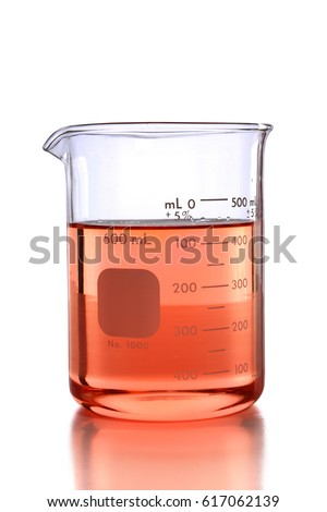 Laboratory beaker with colored liquid over white background - With clipping Path