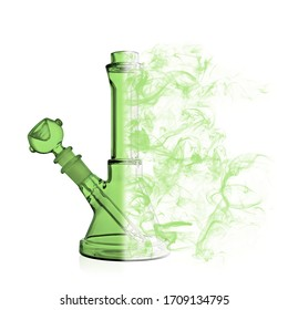 Laboratory bong for smoking marijuana is green on a white background. The glass bong is half the smoke. Smoking marijuana on a pure white background