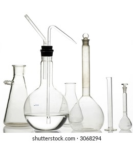 laboratory bottles - test tubes and beakers - on white