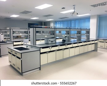 Laboratory chemical in science classroom interior of university college.
