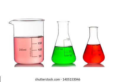 Laboratory equipment, Beaker and Erlenmeyer Flasks filled by different colors liquids with reflection isolated on white background.