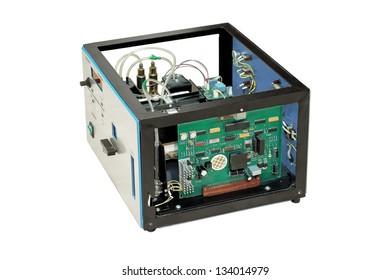 Laboratory equipment, dismantled electronics, isolated on white background.