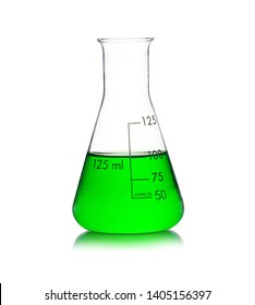Laboratory equipment, Erlenmeyer Flask filled by green liquid with reflection isolated on white background.