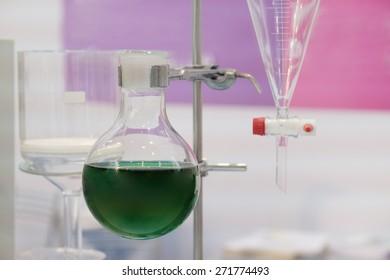 Laboratory equipment. Various glass chemistry lab equipment.