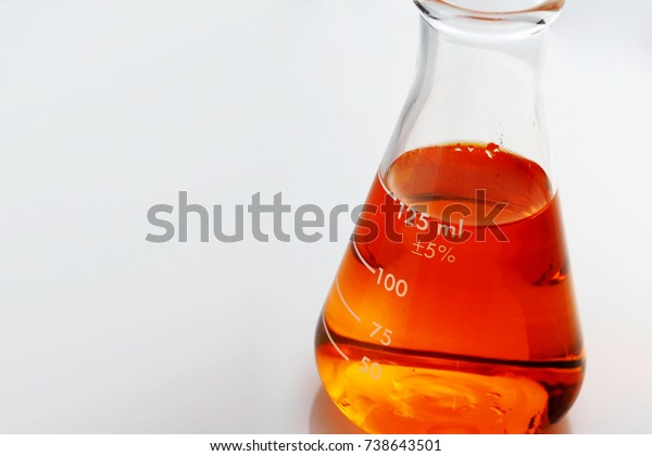 Laboratory Erlenmeyer Flask Liquids Orange Color Stock Photo