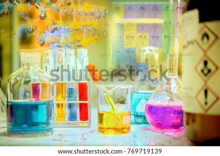 laboratory experiments with chemical structures and hazard symbols from the chemistry with periodic table as background