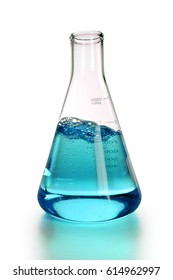 Laboratory flask with colored liquid stirred inside - With clipping path