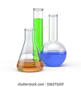Laboratory flasks glassware isolated on white