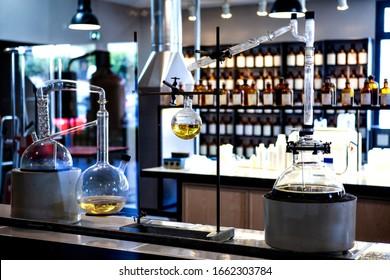 Laboratory, Glass flasks and tubes