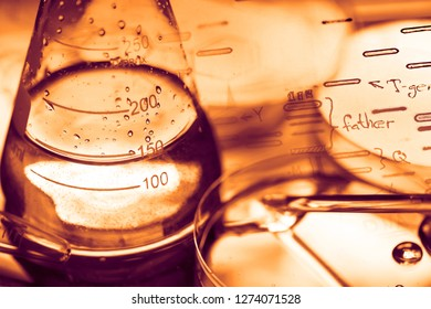 Laboratory glass and petri dish. Medical concept.