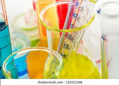 Laboratory glassware close up on white background