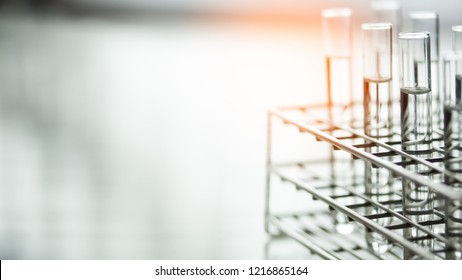 Laboratory glassware containing chemical liquid, science research,science background