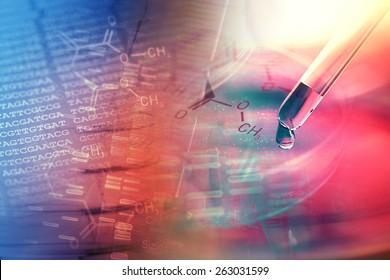 Laboratory glassware and DNA data. Science concept.