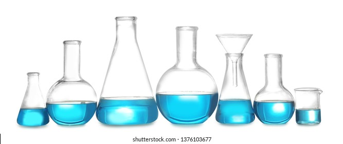 Laboratory glassware with liquid on white background. Solution chemistry