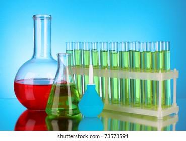 Laboratory glassware on black background