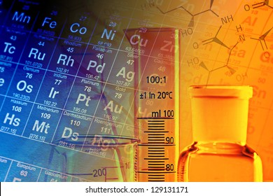 Laboratory glassware and periodic table of elements. Science concept.