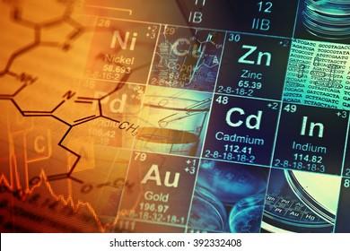 Laboratory glassware and periodic table of elements. Science con