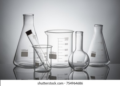 Laboratory glassware set with reflections