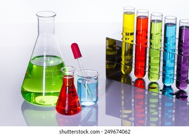 Laboratory  with liquids of different colors