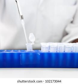 Laboratory micro pipette drops the biological solution in eppendorf